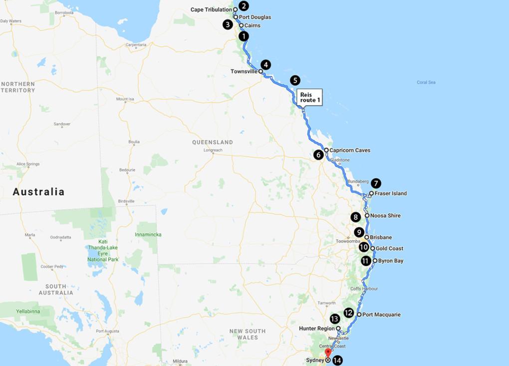 Van Cairns naar Sydney in 3 weken