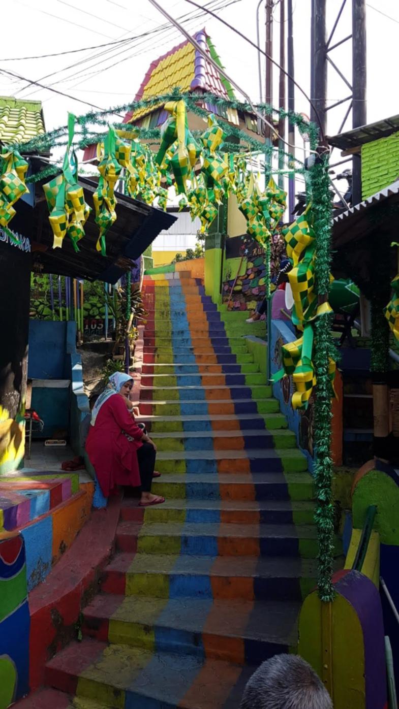 Kleurrijk kampong in Malang (Ind)