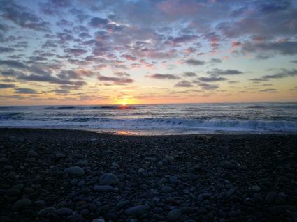 Romantische zonsondergang Greymouth NZ
