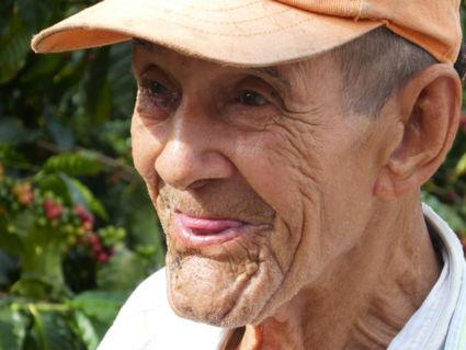 Een 87-jarige koffiebonen plukker in Zona Cafetera in Colombia....