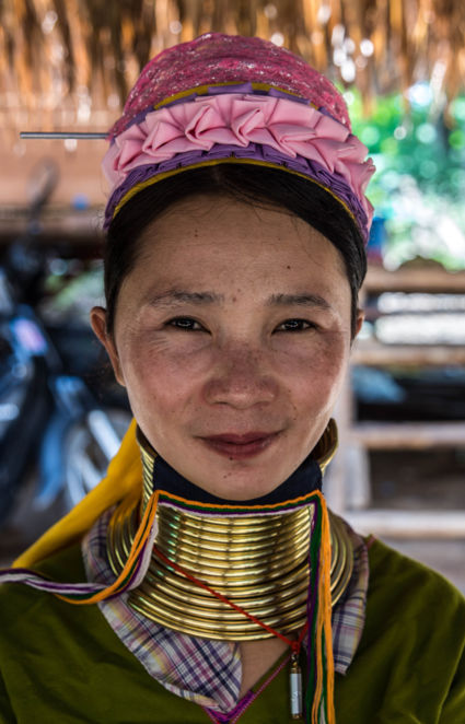 Beautiful woman with brass coils from the Karen Long Neck Village.