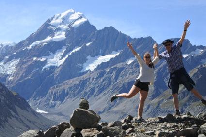 Geluksgevoel bij Mount Cook