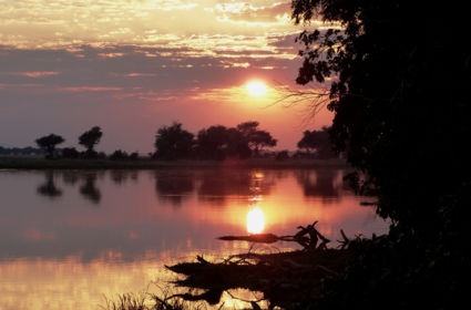 Zonsopgang Zambezi river in Mana Pools National Park, 8/8/2016, 6.33 uur