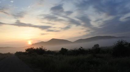 Een sprookjes achtige zonsopkomst in pilanesberg