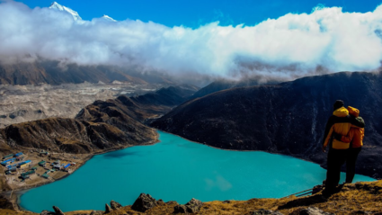 View from Gokyo ri at Gokyo lake at 5360m ▲