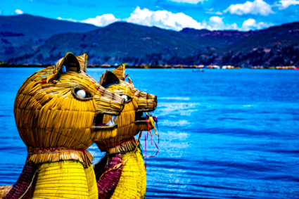 Leeuwenkoppen op rieten boten op het Titicacameer