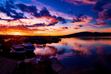 titicacameer bij zonsopgang