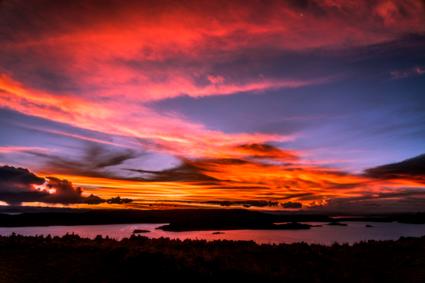 Zonsondergang op het Titicacameer