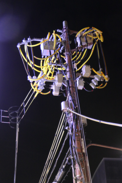 Kunstzinnige electriciteitsknooppunten in Kyoto