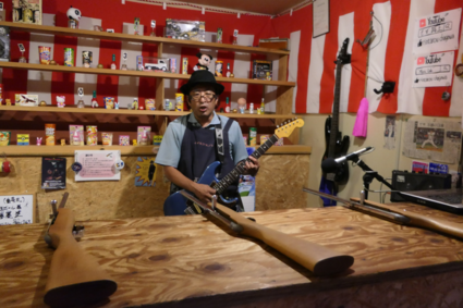 Rockende schiettenthouder in Takayama